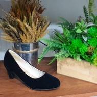 Rovy W1401 รองเท้าคัชชูผู้หญิง สีดำ กำมะหยี่ ลดราคาพิเศษ
