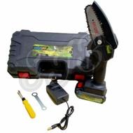 Chainsaw Mini Baterai Cas - Mini Chainsaw Cordless 20V - Gergaji Kayu Baterai 4 inch 20 Volt