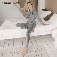 HECHAN Gray Velvet Pajamas Warm Long Sleeve Home Suit For Women Two Piece Set Thick Sleepwear Set