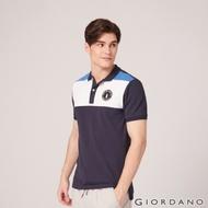 GIORDANO 男裝撞色企鵝刺繡彈性萊卡POLO衫 - 11 標誌海軍藍