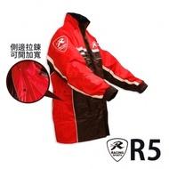 【天德牌】R5多功能兩件式護足型風雨衣(上衣輕薄 側開背包版)黑【M 】155~160cm