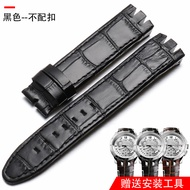 Swatch Swatch Watch Strap Genuine Leather Applicable YRS403 412 402g Watch Band Watch Strap Accessories Double Notch 21mm