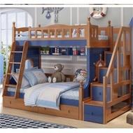【免運費免安裝】海盜船 松木 全實木 兒童 上下床 雙層床 梯櫃 (小蘋果家具)