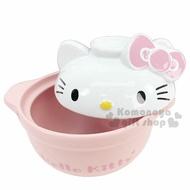 〔小禮堂〕Hello Kitty 造型蓋高耐熱陶瓷鍋《粉.大臉》1500ml.砂鍋.湯鍋