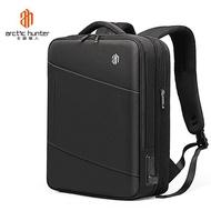 ARCTIC HUNTER ผู้ชายกระเป๋าเป้สะพายหลัง 15.6 นิ้วแล็ปท็อป USB ชาร์จกระเป๋าอเนกประสงค์ความจุขนาดใหญ่ขยายเป้เดินทาง