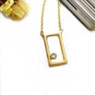 【DoriAN】手作純銀 夢想起飛幾何方塊鑲鑽925純銀項鍊(925純銀 鍍18K金 鑲CZ鑽)