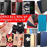 New  OPPO R11S  R11 R11 Plus  case iPhone X 7 6 Cartoon cover Tempered Glass for OPPO R11 iPhone8