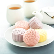 PRE-ORDER【8悦】Taro Yam Lotus with Melon Seed Snowskin Mooncake Gift Set Low Sugar 6pcs (Free Delivery)