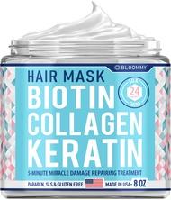 Biotin Collagen Keratin Treatment - Keratin Treatment for Dry & Damaged Hair - Collagen Hair Vitamin Complex - Best Hair Repair for Women & Men - Hair Nourishment with Panthenol - 8 oz