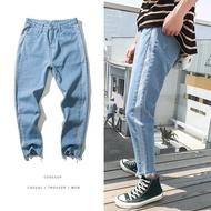 FINDSENSE品牌 2019春季 新款 牛仔 褲子 水洗牛仔褲  淺色 寬鬆 小腳