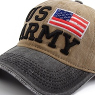 AOSRRUN New Us Army Men'S Cap Washed Cotton Vintage Baseball Cap Embroidered Letters Dad Hat Bone Casual Sun Hats Usa Flag Caps Bargain Sale