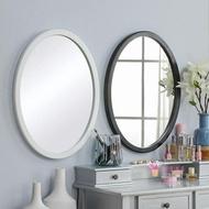 壁掛梳妝鏡 北歐木質壁掛鏡橢圓形鏡子化妝鏡浴室鏡裝飾鏡試衣鏡掛鏡創意鏡子T