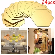 Mirror Stickers Sticker Bathroom 80*70*40mm Golden Hexagon Tiles Mirror