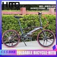 HITO Foldable Bicycle X6 22 Inch Double Tube  Ultra Light Portable Disc Brake Male Adult Road Bike Free Installation