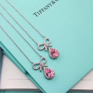 TIFFANY & Co. 蒂芙尼蝴蝶结粉石项链材质純银長項鏈短項鏈頸項鏈女友生日禮物七夕禮物時尚浪漫禮物