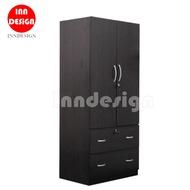 Dalle 2 Doors Wardrobe With 2 Big Drawers/ Open Wardrobe (Walnut)