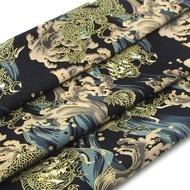 中國風龍躍海浪棉麻布藝服裝布料幅寬150CM半米手工DIY面料1入