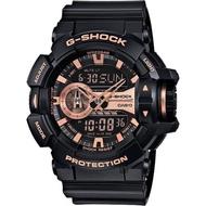 【CASIO 卡西歐】G-SHOCK 金屬系雙顯手錶-玫瑰金x黑(GA-400GB-1A4)