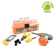 【Playful Toys 頑玩具】手提仿真工具箱(電鑽工具組 工具箱玩具 手提三層工具箱 兒童工具箱)