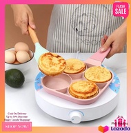 PINK  4 Hole Omelet Pan Induction Cooker Cooking Tool for Breakfast Non-stick Ham Wooden Handle Suitable For Gas Stove EGG OMELET PANCAKE HOTCAKE BREAKFAST KITCHEN PINK RED BLUE TEAM PINK  COOKING POT FRY FRYING PAN