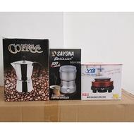 โปรโมชั่น เครื่องชุดทำกาแฟ 3IN1 เครื่องทำกาหม้อต้มกาแฟสด สำหรับ 6 ถ้วย / 300 ml +เครื่องบดกาแฟ + เตาอุ่นกาแฟ เตาขนาดพกพา เตาทำความ ราคาถูก เครื่องชงกาแฟ เครื่องชงกาแฟอัตโนมัติ เครื่องทำกาแฟสด เครื่องชงกาแฟสด เครื่องทำกาแฟ อุปกรณ์ร้านกาแฟ เครื่องชง