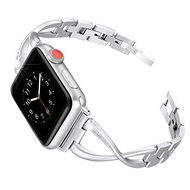Secbolt Stainless Steel Band Compatible Apple Watch Band 38mm 40mm Women i watch Series 5/4/3/2/1 Accessories Metal Wristband X-Link Sport Strap Silver