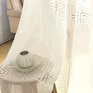 White Stripe Curtain Sliding Door Geometric Sheer Curtain Embroidery Sheer Window Curtain Voile Sheer Drape Room Divider