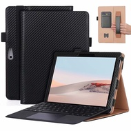 Carbon Fiber Pattern PU Leather Case for Surface Go 2 Stand Cover with handrest Go2 holder
