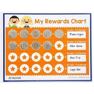 Chore Chart. 20 Real Metal Coins. 1 Wet Erase Vis-a-Vis Marker - Thick. Laminated AttaCoin Mat - Provide Positive Reinforcement - Great to Teach Responsibility - intl