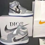 【Original Latest】 In Stock Dior X Nike Air Jordan 1 High Men Women Basketball Sneakers running shoes