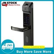Amleso Biometric ล็อคประตูลายนิ้วมือหน้าจอสัมผัสปุ่มกดความปลอดภัยรายการ lockset 3 สี
