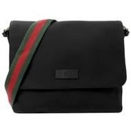 GUCCI 經典綠紅綠斜背帶帆布翻蓋郵差包.黑