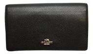 (Coach) Coach Foldover Clutch Wallet Pebbled Leather Crossbody Bag Black F54002-