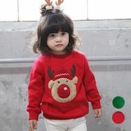 【橘魔法】立體麋鹿加厚不倒絨長袖上衣(衛衣 男童 女童 中童 童裝 童裝 聖誕服裝 聖誕節 耶誕節)