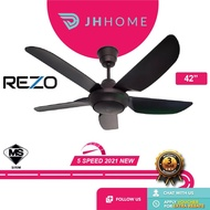 REZO 42 INCH 5 ABS BLADE 5 SPEED AX42 MATTE BLACK AC MOTOR CEILING FAN WITH REMOTE CONTROL