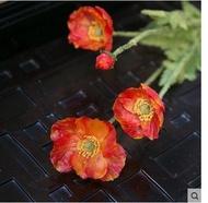 知根仿真花虞美人小罌粟花田園風格家居裝飾花絹花假花擺設花3個組(圖一)