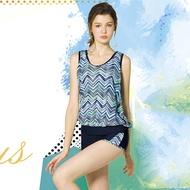 梅林品牌   大女藍色水波紋外罩衫內搭運動型泳衣三件式泳衣  贈泳帽  NO-M8430