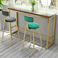 吧台椅北歐鐵藝大理石吧台桌實木酒吧桌椅組合靠墻吧台高腳桌家用小吧台