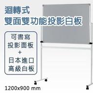 【日本林製作所】迴轉式雙面雙功能投影白板(小型) /投影螢幕/白板架/可書寫/120*90/120x90(一般寄送地址)(WB-1200)