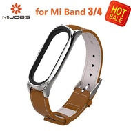 Mijobs Xiaomi Mi Band 4 Strap With Genuine Leather Plus Wrist Replacement Smart Wristband Colorful MiBand 4 Miband4 Strap For Xiaomi Mi Band 4 Bracelet for Mi Band 3