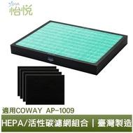 【怡悅】HEPA抗菌濾心/四片活性炭濾網組合(適用Coway AP-1009 Ap1009CH空氣清淨機)