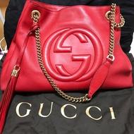 Gucci SOHO大紅金鍊中款流蘇包