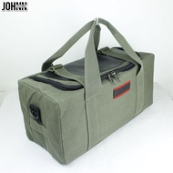 Johnn ขนาดใหญ่เบาะกระเป๋าถือกระเป๋าผู้ชายผ้าใบกระเป๋าเดินทางกระเป๋าเดินทางกระเป๋าสะพายไหล่
