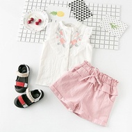 Summer new sweet little baby suits Korean girls in two-piece embroidered sleeveless shirt shorts tud