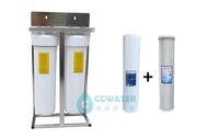 【大墩生活館】20吋大胖雙管淨水器雙白瓶/純淨白/水塔過濾器/前置過濾/不鏽鋼腳架+NSF濾心, 售價4180元。