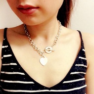 ❤NBSUN❤愛心圓環項鍊 Tiffany蒂芬妮項鍊 心形TO扣針粗項鍊 男女情侶款 桃心項鍊 鍍18K真金蒂芙尼項鍊