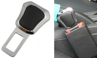 權世界@汽車用品 皮革黑色鍍鉻造型 高質感金屬安全帶消音扣 插銷 HD-839