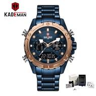 KADEMAN Top Luxury Sports Watches Men Waterproof LED Digital Watch Stainless Steel Analog Quartz Clock Fashion Casual Men's Wristwatches