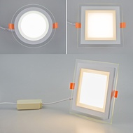 新款LED玻璃筒灯面板灯 LED downlight glass panel lamp ceiling lamp 5W12W18W24W three-color dimper led ceiling light