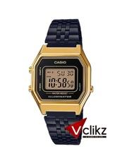 Casio Digital นาฬิกาข้อมือดิจิตอล สายสแตนเลสสีดำ เรือนทอง รุ่น LA680WEGB-1A - vclikz ของแท้ รับประกัน 1 ปี